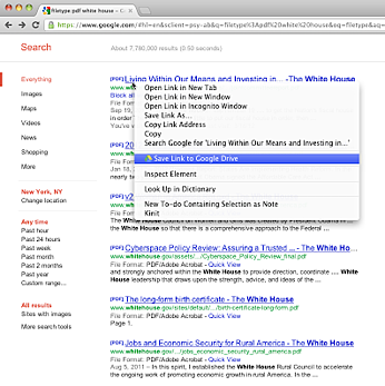 Save web links to Google Drive