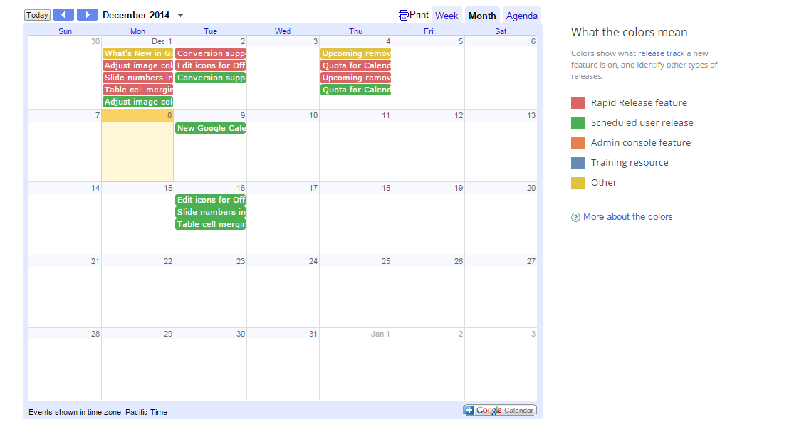 A calendar for everything that's new in Google Apps