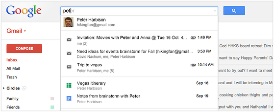 Google Search Results will include Documents, Spreadsheets, Slides, Calendar Events & G+ information