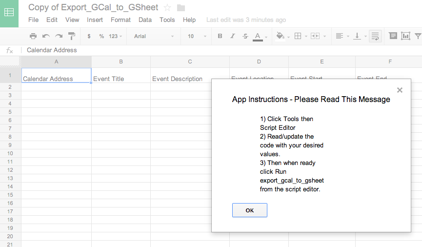 Exporting Instructions in Google Spreadsheet
