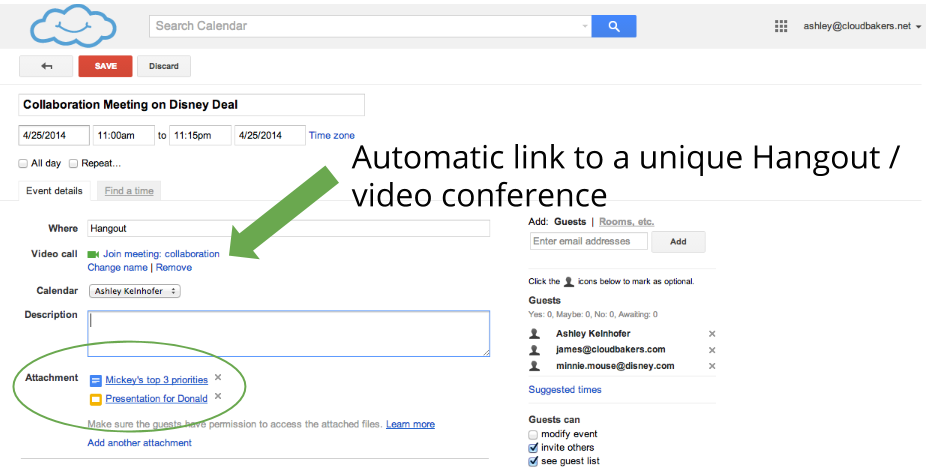 Google calendar invitations have automatic video links and the ability to attached documents