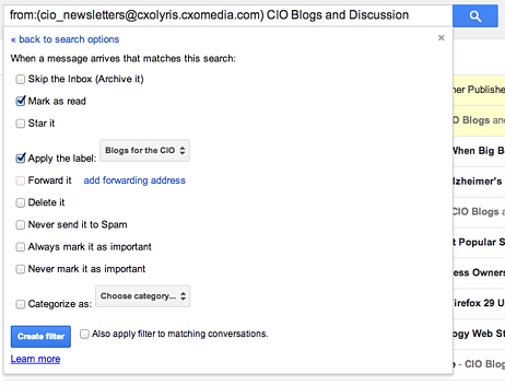 Step 2 of creating filters in Gmail