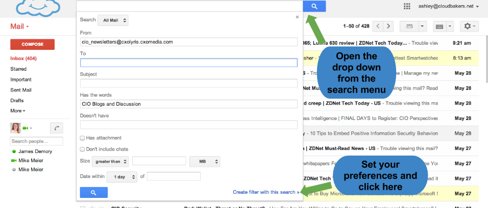 Step 1 of creating filters in Gmail