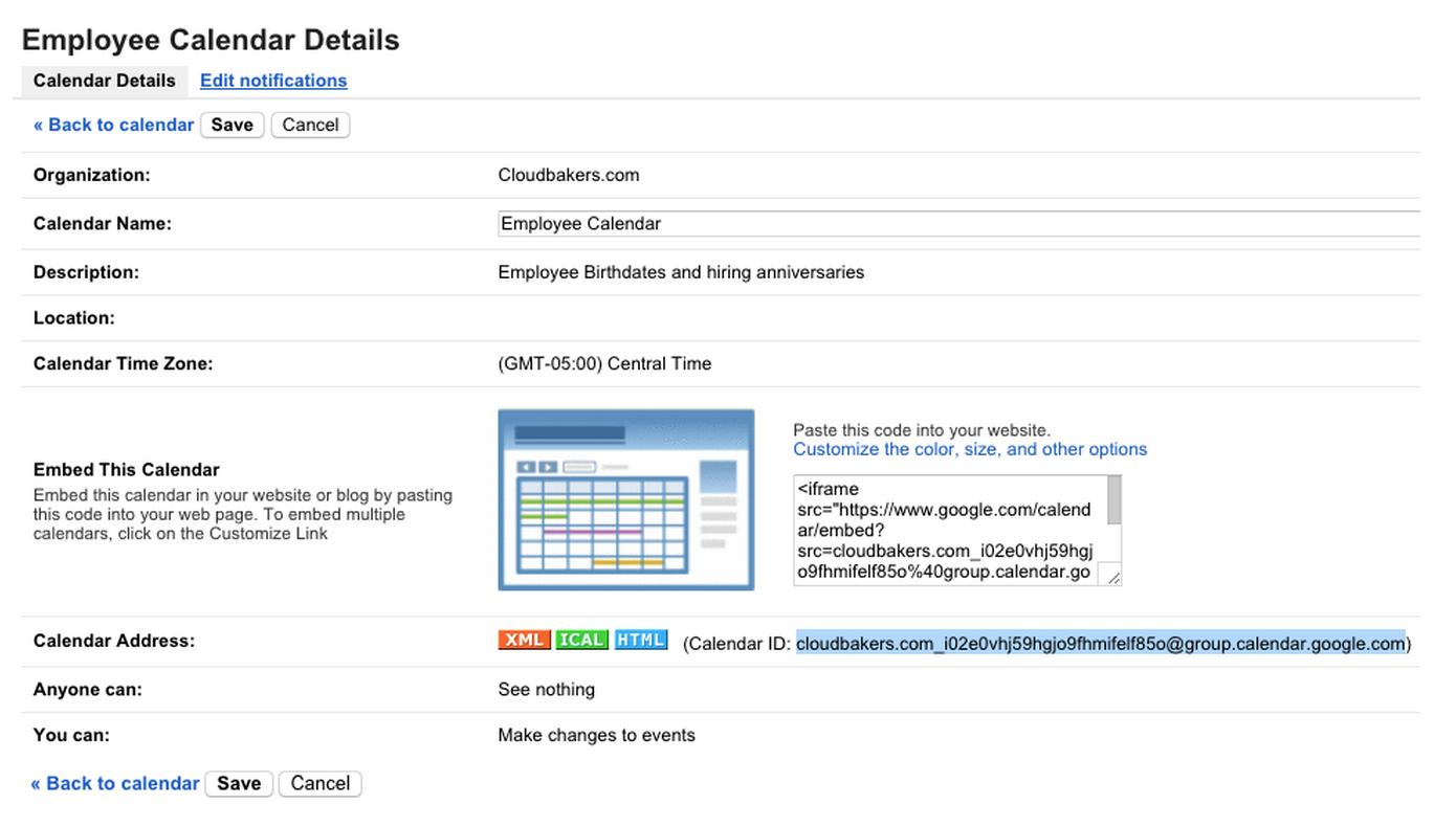 Calendar ID | Cloudbakers