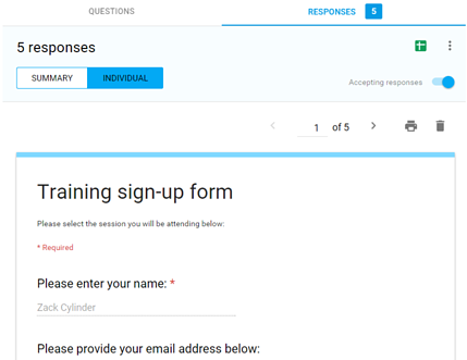 View Individual Responses in Forms