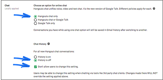 Google Hangouts History Options | Cloudbakers