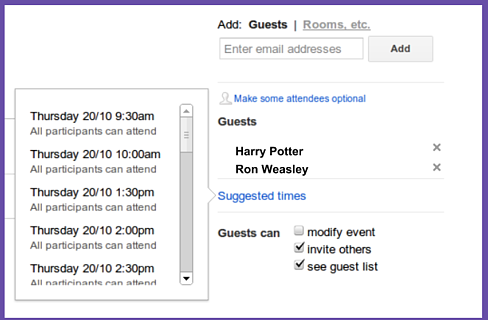 Harry Potter & G Suite's Suggested Times Feature