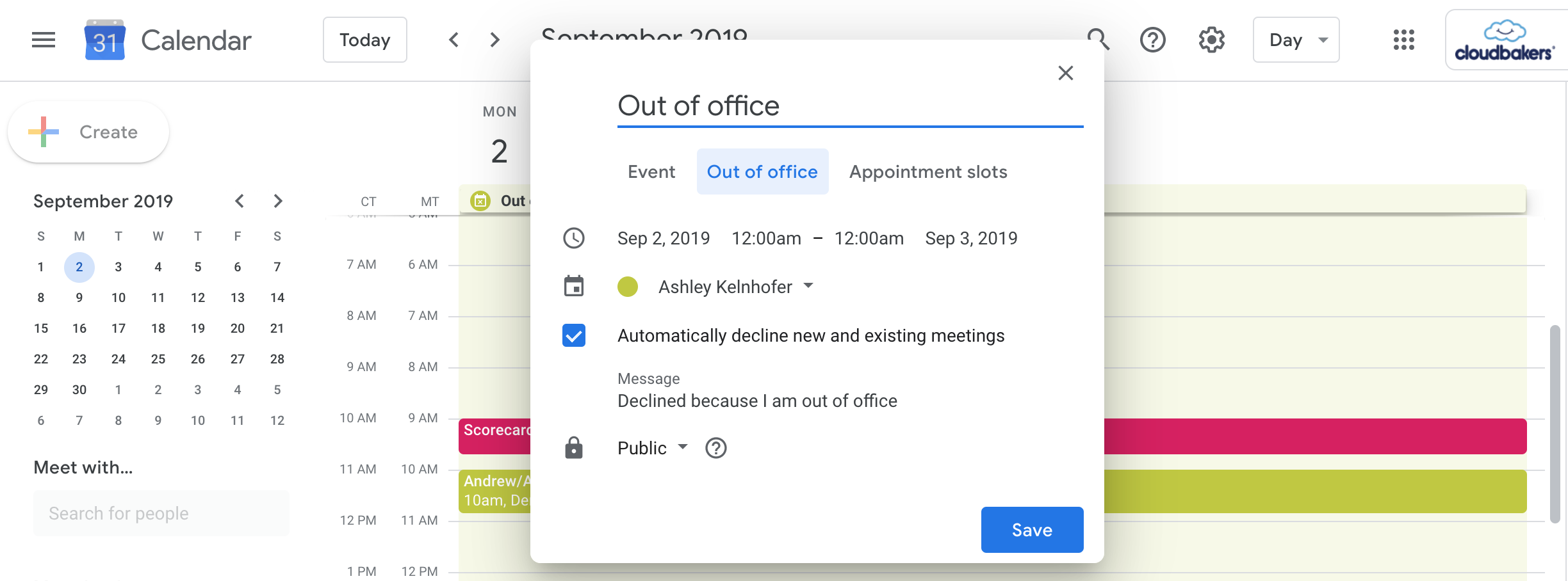 Out of Office Event Type in Google Calendar