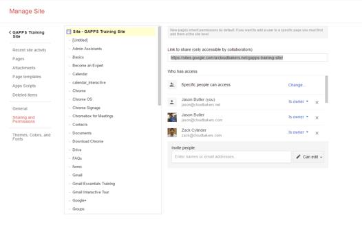 Granular Sharing Permissions in Google Sites