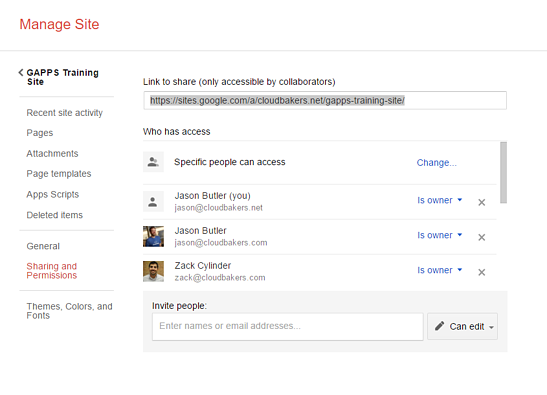 Manage Sharing Permissions in Google Sites