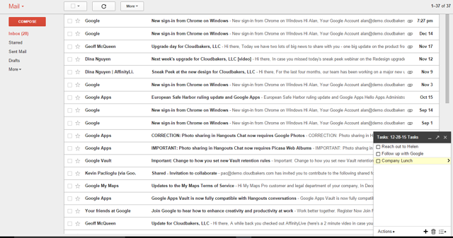Google Tasks from Gmail Interface | Cloudbakers