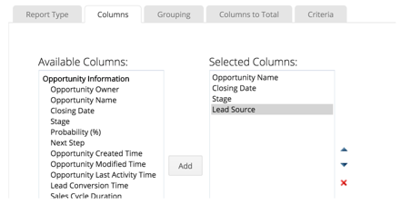 Edit Components of Summary Report in Zoho CRM